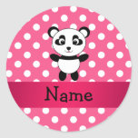 Personalised panda pink white polka dots round sticker