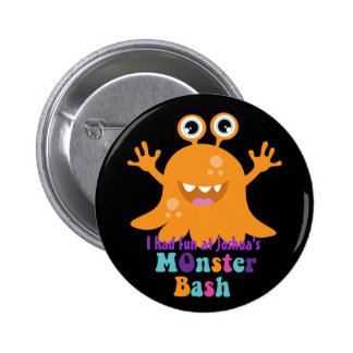 Personalised Party Badge - Orange Monster