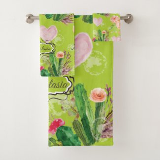 Personalised Pastel Cactus Bath Towel Set