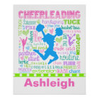 Personalised Pastel Cheerleading Words Typography Poster