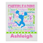 Personalised Pastel Cheerleading Words Typography Poster