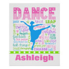 Personalised Pastel Dancer Words Typography Poster