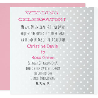Personalised pastel dots wedding invitation