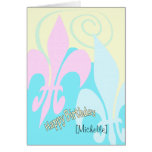 Personalised Pastel Fleur de Lis Art Birthday Greeting Card