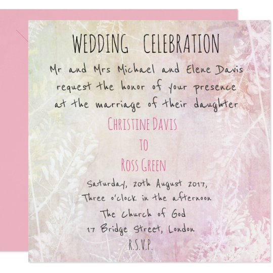 Personalised pastel, floral wedding invitation