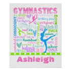 Personalised Pastel Gymnastics Words Typography Poster