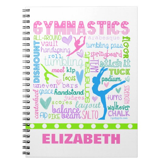 Personalised Pastel Gymnastics Words Typography Spiral Notebook