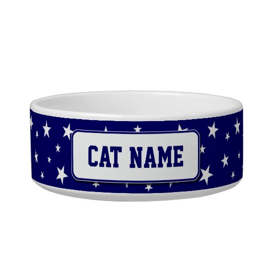 Personalised Patriotic Stars Cat Bowl