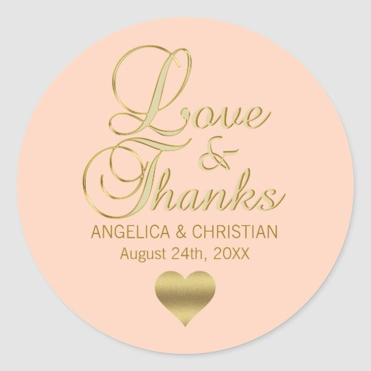 Personalised PEACH Gold LOVE & THANKS Wedding Classic