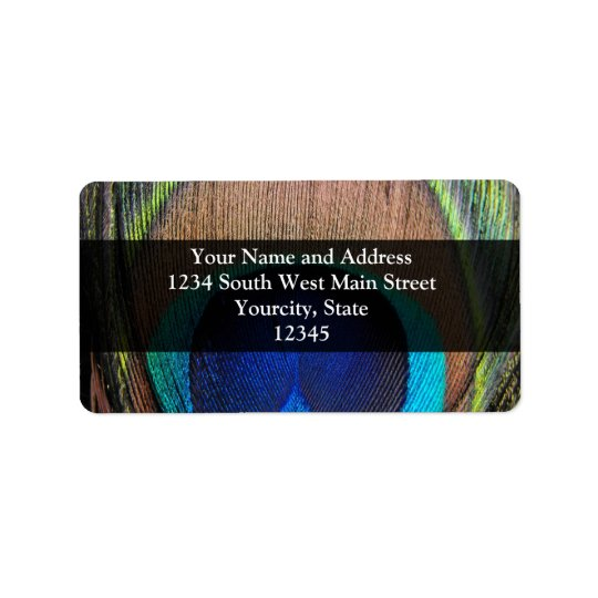 Personalised Peacock Feather Address Label