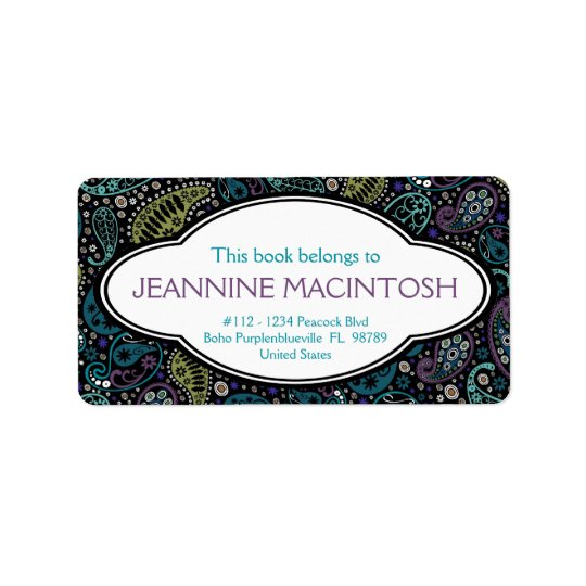 Personalised Peacock Paisley Pattern Bookplate Label