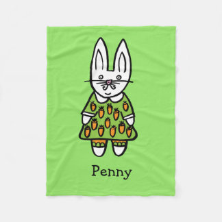 Personalised Penny the Rabbit Fleece Blanket