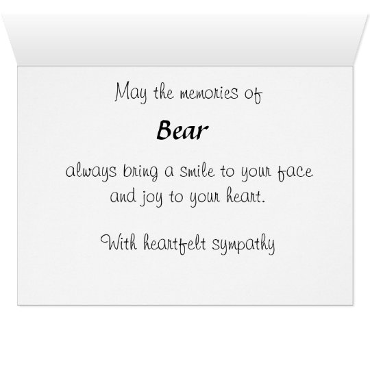 Personalised Pet Bereavement Sympathy Card SPO