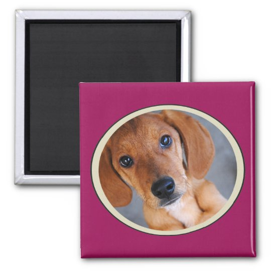Personalised Pet Photo Dark Pink Frame Magnet