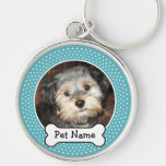 Personalised Pet Photo with Dog Bone Silver-Colored Round Key Ring