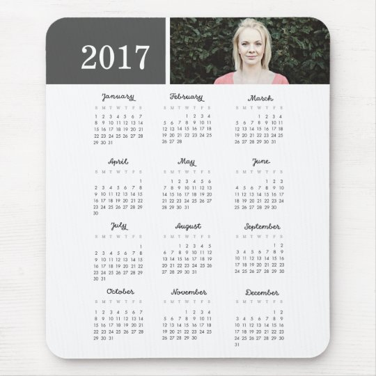 Personalised Photo 2017 Calendar Mouse Pad