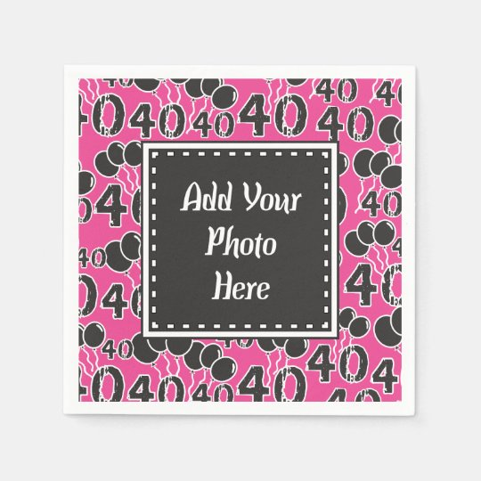 Personalised Photo 40th Birthday PINK Party Disposable Napkin