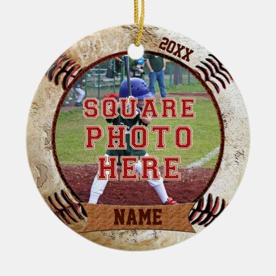 Personalised PHOTO Baseball Ornaments NAME, YEAR