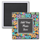 Personalised Photo Colourful 50th Birthday Magnet