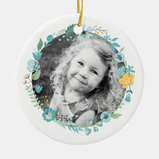 Personalised Photo Delicate Floral Wreath Round Ceramic Decoration