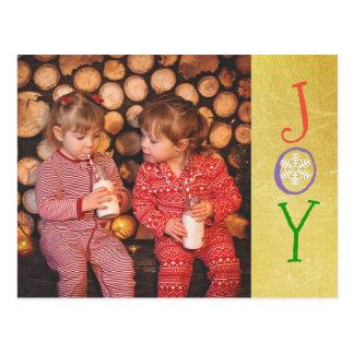 Personalised Photo Family Christmas Joy Gold Card