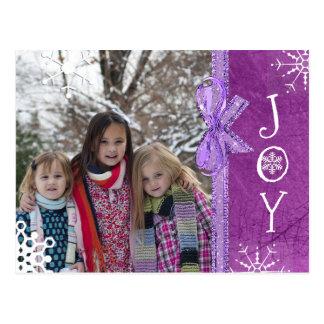 Personalised Photo Family Christmas Joy Purple Postcard