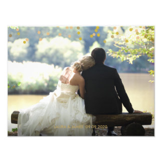 Personalised Photo Gold Confetti Script Thank You