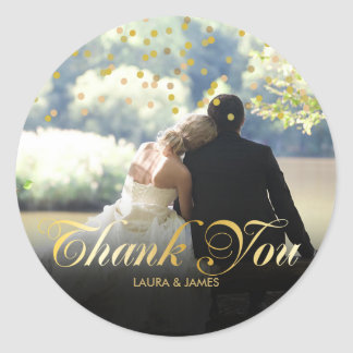 Personalised Photo Gold Confetti Script Thank You Classic Round Sticker