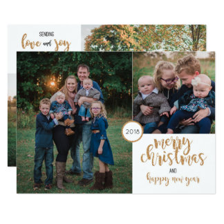 Personalised Photo Gold Glitter Christmas Card