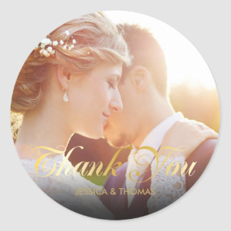 Personalised Photo Gold Script Thank You Round Sticker