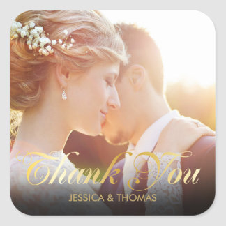 Personalised Photo Gold Script Thank You Square Sticker
