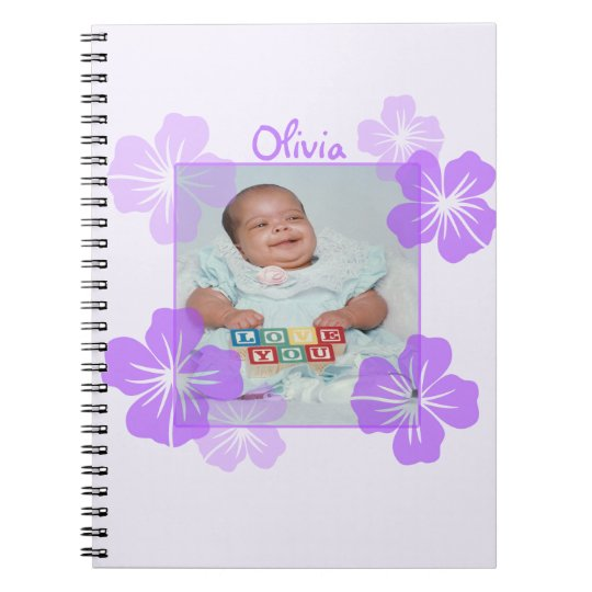 Personalised Photo Purple Floral Notebook
