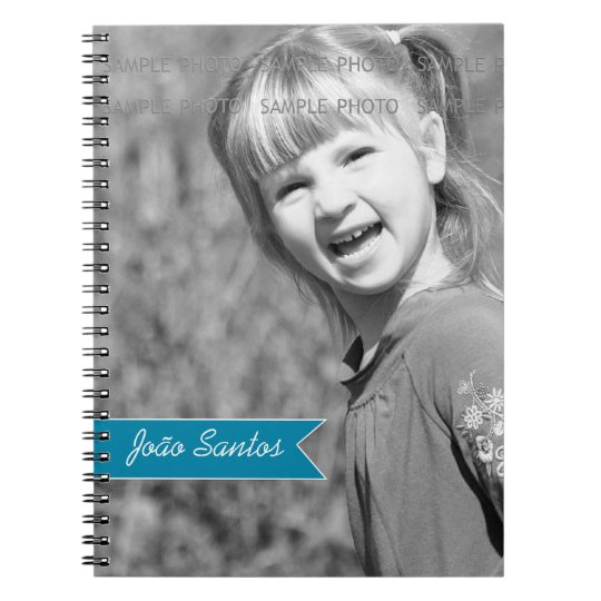 Personalised Photo Teal Blue Banner Custom Name Notebooks