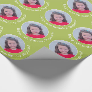 Personalised Photo with Birthday Greeting - Green Wrapping Paper
