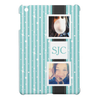 Personalised Photos and Initials Girly Stripes Case For The iPad Mini