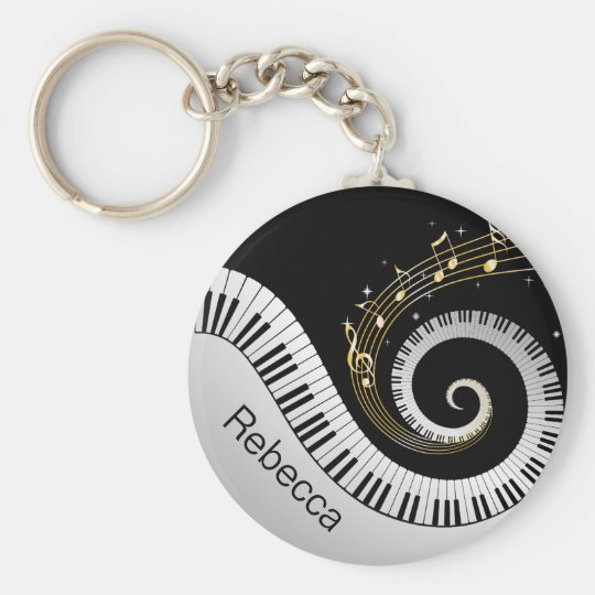 Personalised Piano Keys and Gold Music Notes Basic Round Button Key Ring
