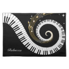 Personalised Piano Keys and Gold Music Notes Placemat