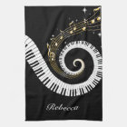 Personalised Piano Keys and Gold Music Notes Tea Towel