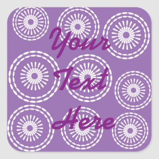 Personalised Pick your own colour Abstract Flowers Square Sticker