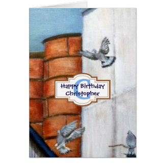 Personalised Pigeons Happy Birthday Art Card