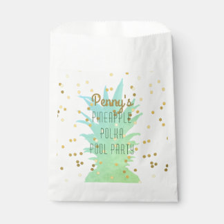 Personalised Pineapple Polka Pool Party Favour Bag