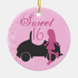 Personalised Pink and Black Car Sweet 16 Sixteeen Round Ceramic Decoration