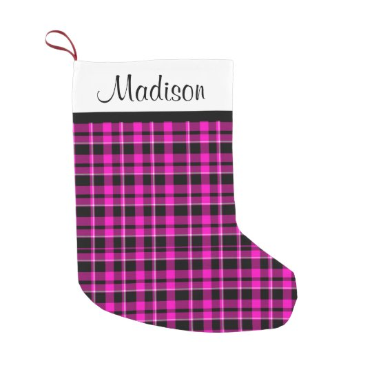 Personalised Pink and Black Plaid Tartan Small Christmas