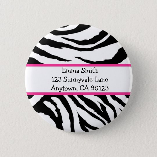 Personalised Pink and Black Zebra Pin