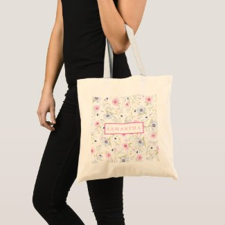 Personalised Pink and Blue  Floral Tote Bag