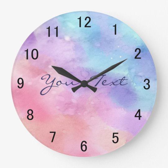 Personalised Pink and Blue Watercolor Large Clock