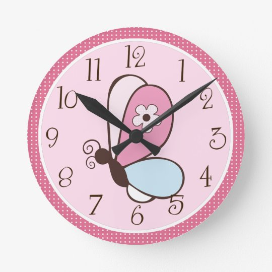Personalised Pink and Brown Bria Butterfly Clock