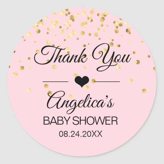Personalised pink and gold baby shower labels