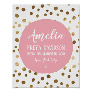 Personalised Pink and gold spot birth poster print