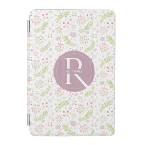 Personalised Pink and Green Floral Design. iPad Mini Cover